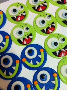 Silly Monster Cupcake Toppers by Sweet Charity's, via Flickr Monster Cupcakes, Monster Party, Sweet Charity, Cupcake Toppers, Goodies, Kids Rugs, Halloween, School, Birthday