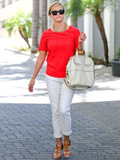 bright top + white pants + neutral sandals