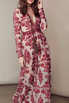 White instead of red and tank top sleeves would make this an amazing wedding dress! Temecula Maxi Dress   Free People