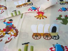 Vintage Curtains  Western Cowboys Covered Wagon by NehiandZotz, $26.00