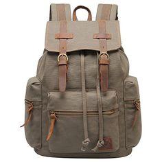 Hynes Eagle Unisex's Retro Canvas Backpacks Rucksack Schoolbags (Army Green)