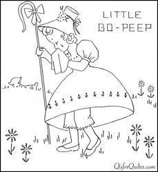 Vintage embroidery patterns more nursery rhymes q is for Little bo peep coloring pages