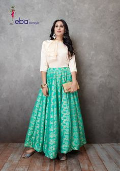 Eba lifestyle western vol 1 readymade collection online wholesale - krishna creation Indian Gowns Dresses, Indian Fashion Dresses, Indian Designer Outfits, Skirt Fashion, Designer Dresses, Crop Top Dress, The Dress, Indian Lehenga, Lehenga Choli