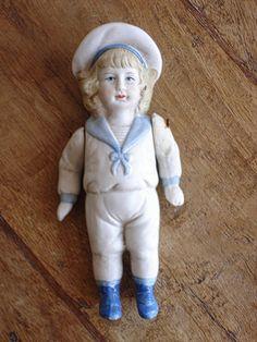 Vintage Bisque Sailor Boy Doll. Mignonette Figurine.
