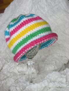 Bright Stripes Knit Baby Hat, Rolled Brim, Preemie, Newborn, Toddler Hat, Extra-Soft Anti-Pill Acrylic,HannahsHomestead2