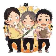 Haikyuu! ~~ Cuties! ☀ | ayame [pixiv] :: Asahi, Sugawara, and Daichi