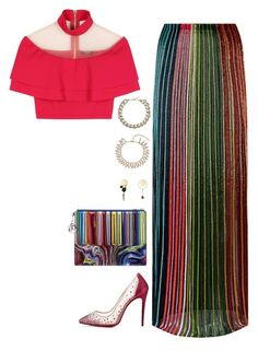 Balmain top and skirt with dior bag and earrings by hugovrcl on Polyvore featuring polyvore, fashion, style, Balmain, Christian Louboutin, Chanel and clothing