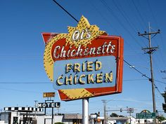 """Famous Al's Chickenette of Hays, Kansas. Wonderful neon sign pulls them in for lunch and dinner. """"The Fine Art Photography of Frank Romeo."""""""