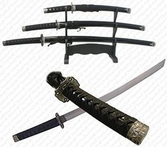 Trademark Black Belt Katana Super Set - 3 Piece by Whetstone Cutlery. $36.32. BLACK BELT KATANA SUPER SET- 3 Piece SetThese are beautiful swords and are well made. Each sword has a hardwood polished black finished scabbard. The end caps and hilt are dark molds with a decorated design. The black cord wrappings nicely match the scabbard colors.