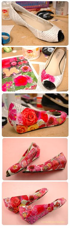 DIY tutorial on how to create fancy floral decoupage shoes www.goodwillvalleys.com/shop