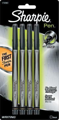 Shop Staples® for Sharpie ® Permanent Ink Pen, Fine Plastic Tip, Black, 4/Pack