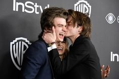 (L-R) Actors Joe Keery, Natalia Dyer and Charlie Heaton attend the 18th Annual Post-Golden Globes Party hosted by Warner Bros. Pictures and InStyle at The Beverly Hilton Hotel on January 8, 2017 in Beverly Hills, California.