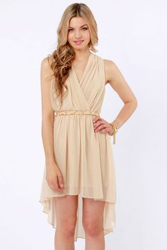 Pretty Cream Dress - High-Low Dress - Belted Dress - $43.00 OPTION NUMBER ONE