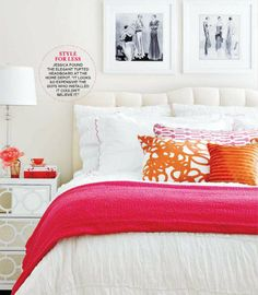 pink + orange tufted headboard
