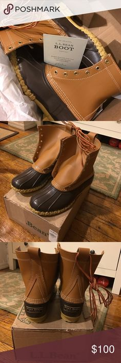 L.L.Bean NIB RARE Duck Boots in Kids' Sizing! I'm a women's size 8-8.5 and worried about sizing down to a 7 as suggested by LL Bean, but since Duck Boots come only in whole sizes, it was only 7 or 8, and 8 was way too big! I read a suggestion online to try kids' unisex sizes if you need an off size. Indeed, these kids' size 6 are equivalent to a women's 8.5-9. They are a little bit bigger than a women's Duck Boot size 7--less than half an inch longer (see photo). I ended up going with a…