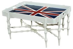 One Kings Lane - Living Room Furniture - Horn Tray Table, Union Jack