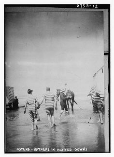 Before swimming pools and beach excursions were commonplace, people generally rented their bathing suits, and as this image taken in Belgium by Bain News Service in 1912 shows, the rented swimwear wasn't exactly flattering for men or women.
