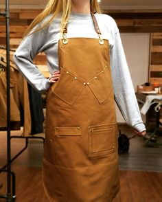 S&R Barber Apron in Brown Canvas wwww.searchandrescuedenim.com