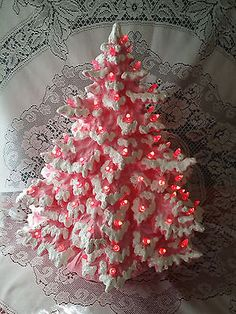 Lighted-Ceramic-Christmas-Tree-Nowell-Frazier-Fir-16-inch-Pink-Lace-Holly-Base Christmas Planters, Indoor Christmas Decorations, Christmas Minis, Christmas Mood, Pink Christmas, Christmas Images, Christmas Colors, Christmas Projects, Christmas Wreaths