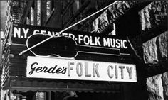 "Gerde's Folk City. Originally an Italian restaurant it started presenting folk music in January 1960 as the Fifth Peg; six months later the name was changed  to Gerde's Folk City. Among other historic events it has it's place in the story of Bob Dylan...he played his first professional NYC show there, opening for John Lee Hooker, April 1961...he met Joan Baez there...on April 16, 1962, he played ""Blowin' in the Wind"" there for the first time in public..."""