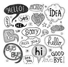Illustration of speech bubbles, vector illustration. vector art, clipart and stock vectors. Bullet Journal Banner, Bullet Journal Writing, Line Design Pattern, Word Doodles, Brush Lettering Quotes, Word Drawings, Comic Book Template, Bubble Quotes, Text Bubble
