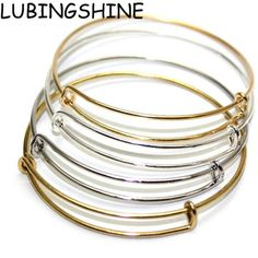 Vintage Silver Gold Color Bangles Adjustable Expandable Wire Bangles Bracelet for Women Fashion Alloy Jewelry JJAL B202 #Affiliate