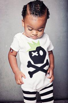 Funky Punk Skull Onesie Boy T Shirt Black and White by BmodDesigns, $21.00
