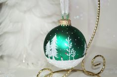 Snowman, Cardinals Hand Painted Green Glass Christmas Ornament - White Pines, Aspen, Snow Scene, and Falling snow, Great Gift