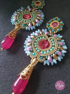 dangle earrings, soutache jewelry, soutache earrings, beadwork earrings, beading, handmade in Italy, colorful, Christmas gift