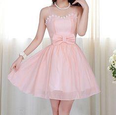 Lace Bow Chiffon Dress -