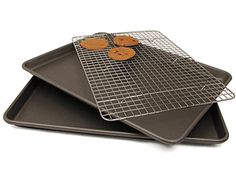 3-pc. Professional Nonstick Jelly Roll Pan Set with Bonus Cooling Grid by Chicago Metallic by Chicago Metallic at Cooking.com