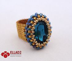 Tutorial Indicolite Oval Ring Bead pattern by Ellad2 on Etsy