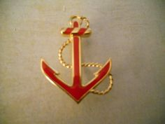 Monet Red Anchor Brooch  Dreaming of Sailboats and by RosieandZoe, $18.00