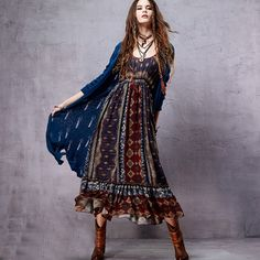 Bohem Stil Uzun Kollu Elbise