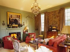Living Room with Burnt Sienna Chinoiserie Walls and Sage Green Paneling -- designer: Amelia T. Handegan