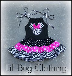 Custom Boutique Clothing Tiered Minnie Mouse Hot Pink Zebra and Black Polka Dots Dress on Etsy, $42.00
