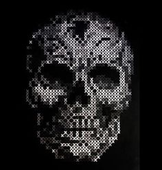 Image about black in Skulls 💀❤💚💀 by amyjames on We Heart It Cross Stitching, Cross Stitch Embroidery, Cross Stitch Patterns, Fuse Beads, Perler Beads, Pixel Art, Cross Stitch Skull, Nerd Crafts, Skull Artwork