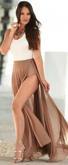 #summer #sensual #chic #outfits |  White Bodysuit + Camel Maxi Skirt