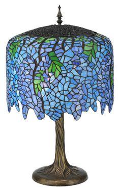 """Meyda Tiffany 28"""" H Tiffany Wisteria Table Lamp - 118689"""