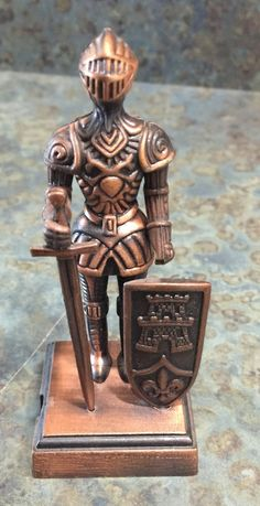 Vintage Brass Cast Knight in Shining Armor Pencil by LeftoverStuff