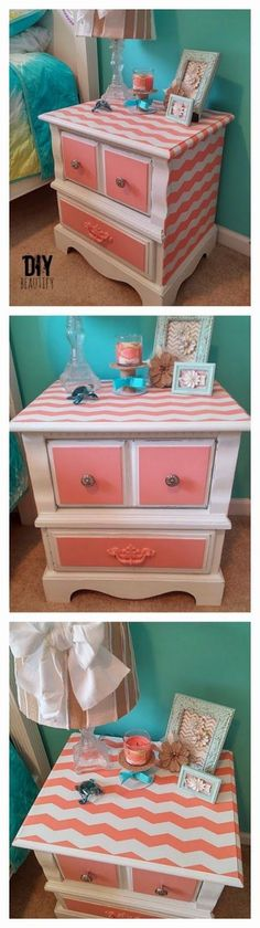 DIY nightstand coral and white chevron