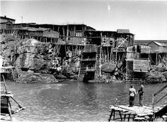 """Pouch Cove: Perhaps the most photographed group of stages in Newfoundland. This image from the water level illustrates the concept of the """"T."""" (See below.) PANL B16-106 (Credit: PANL-CMCS"""
