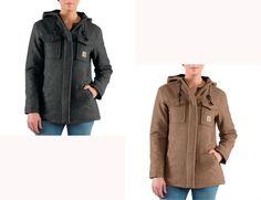 Women's Carhartt Camden Wool Parka Coat Brown or Black NEW w/Tags MSRP $160! #Carhartt #Parka