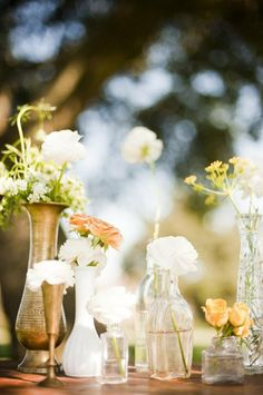 Spring is just around the corner! We're inspired by romantic arrangements with pastel blooms and lots of lush greens. While we adore traditional vases, it's always fun to mix it up. Keep reading for three centerpiece ideas for springtime wedding celebrations. 1. Heirloom Inspired Pitchers:Think outside the vase. We think that fresh blooms look perfect …