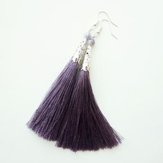 Earrings brushes lilac, fashionable jewelry, Long earrings tassels