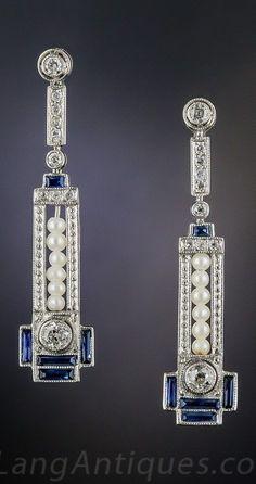 Quintessential Art Deco Pendant Earrings of Pearl, Sapphire & Diamond Sparkles