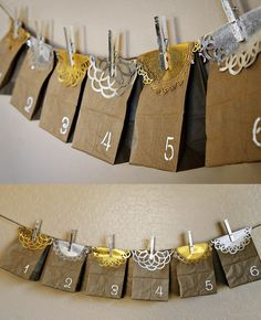 (diy tutorial) holiday paper bag advent calendar & gilded clothespins Love this and it's inexpensive to make! Holiday Advent Calendar - fun holiday DIY using Martha Stewart Crafts - click thru for Eid Crafts, Ramadan Crafts, Ramadan Decorations, Holiday Decorations, Decor Crafts, Noel Christmas, Christmas Countdown, Christmas Crafts, Xmas