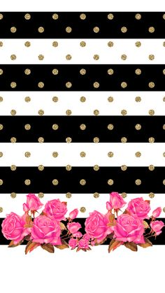 Black white stripes gold spots pink roses iphone wallpaper phone background lock screen