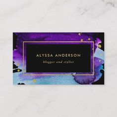 Shop Bold Watercolor Splash with Faux Gold Look Accents Business Card created by Personalize it with photos & text or purchase as is! Black Business Card, Elegant Business Cards, Business Card Size, Business Card Design, Watercolor Business Cards, Referral Cards, Green Watercolor, Zazzle Invitations, Prints