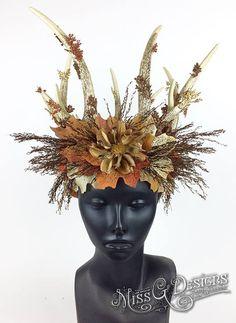 Fairy Antler Crown by Miss G Designs   etsy.com/shop/MissGDesignsShop  headdress headpiece autumn sprite nymph